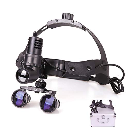 QPALZM Scheinwerferlupe - LED-geteilter Scheinwerfer, Chirurgisches Fernglas, Lupe, Leder-Stirnband (2,5-mal, 3,5-mal), Verpackt In Einer Aluminiumbox.(Size:2.5X)