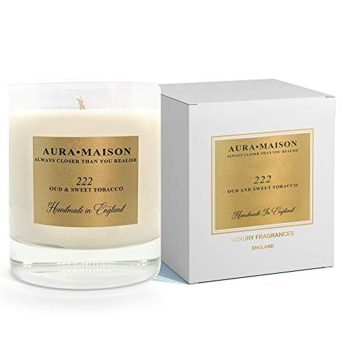 Aura Maison Scented Candle 30cl - Oud & Sweet Tobacco Elegant Scent With Essential Oil Aromatherapy - 100% Natural Soy Wax for Bath Spa Meditation, Relaxation - UK Hand Poured Medium Up To 50Hrs