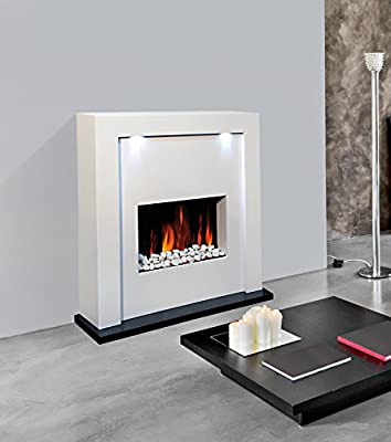 Guaranteed4Less Electric Fireplace Fire Surround Living Room Floor Standing LED Lights MDF Inset