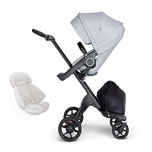 Read About Stokke Xplory Black Chassis, Seat - Grey Melange/BlackLeatherette Handle & Seat Inlay - G...