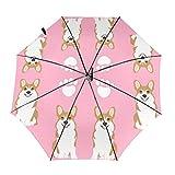 コーギーかわいいコーギー犬犬ペット犬甘い動物救助犬犬アートかわいい犬生地 折りたたみ傘 折り畳み傘 ワンタッチ 自動開閉 頑丈な8本骨 傘 耐風撥水 軽量 晴雨兼用 日傘 男女兼用