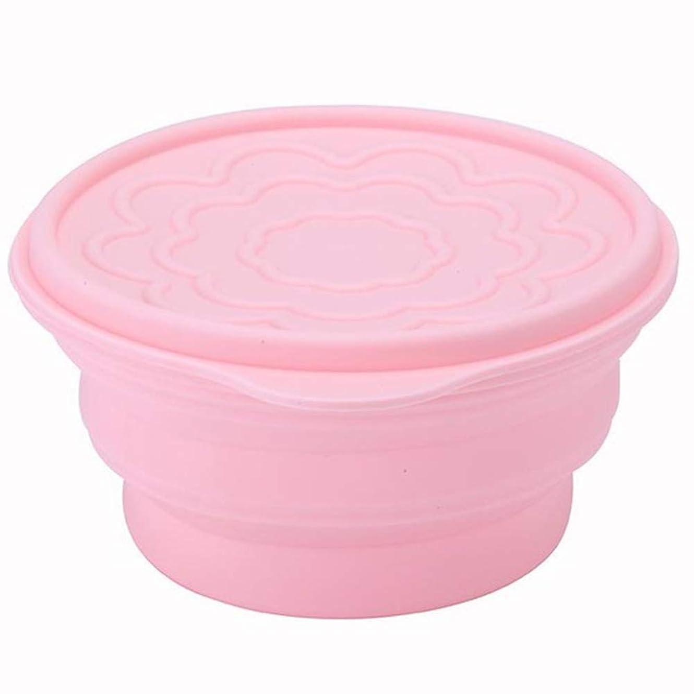 聡明メロドラマティック空白食品グレードのシリコーン折りたたみ式ボウルヌードルフォールディングボウルポータブルトラベルキャンプボックスカバー付きキッズ学生用食器(色:ピンク)