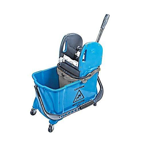 limpando Einfach-Fahreimer mit Tragebügel und Stabiler Mopp-Presse - Einfachfahrwagen mit Zwei-Eimer-Wischeinheit (24L und 10L Trenneimer)