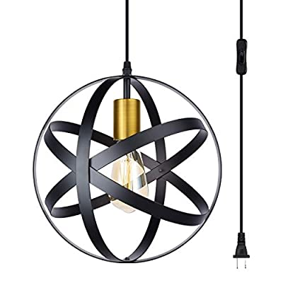 Industrial Pendant Light Fixture Plug-in Cord Pendant with On/Off Switch,Retro Black Finish Metal Shade Hanging Light,Kitchen Ceiling Lamp, E26 Base,1-Light