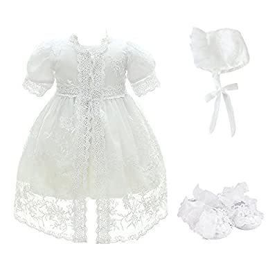 Glamulice Baby Girl Party Dress Christening Baptism, White-4pcs, Size 6M/6-12M