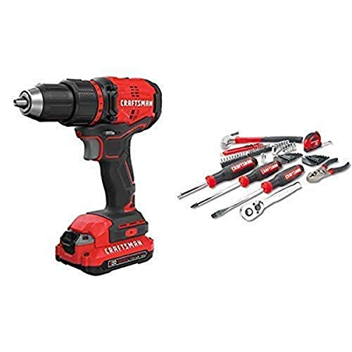 CRAFTSMAN V20 Cordless Drill/Driver Kit, Brushless with Mechanics Tools Kit/Socket Set, 57-Piece (CMCD710C1 & CMMT99446)
