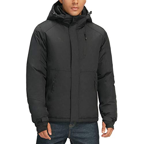 Mens Winter Jacket Waterproof Warm Snow Ski Jackets Faux Fur Fleece Rain Coats with Removable Hood and Windproof Cuffs