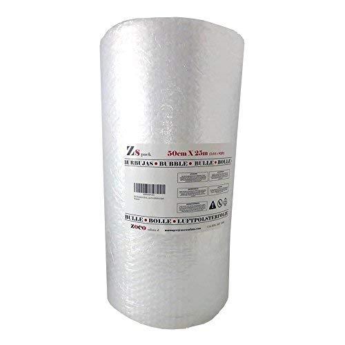 ZS PACK - Rollo de Plastico de Burbujas Para Embalar de 50 cm de Anchura x 25 Metros Largo - 12,5 m2 de Papel Burbujas Transparente [Triple Capa & Burbuja Densa - 1cm]