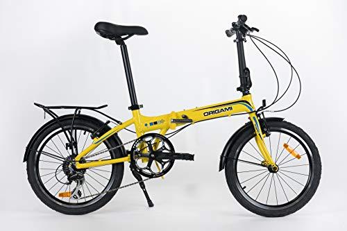 Origami Crane 8 Speed Folding Bicycle, Pearl Yellow, 13'/Medium