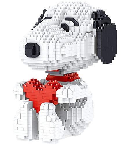 BAIDEFENG Kinder Bausteine, Diamant Mini Cartoon Snoopy Bausteine,Nano Micro Blocks 3D-Puzzle-DIY-Lernspielzeug, Erwachsene Dekompressiongeschenk (Love Snoopy)