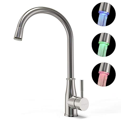 Kitchen Sink Faucet Stainless Steel Kitchen Faucet with Led Light and Water Temperature Sensor 360 Degree Rotating Kitchen Faucet