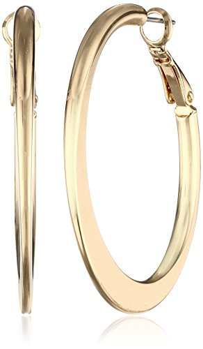 Kenneth Cole New York Gold Edge Hoop Earrings