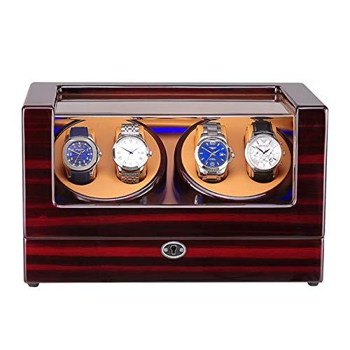 Cajón para guardar relojes y joyas Reloj Caja de Winder para 4 Reloj automático Disponente LED Luz de madera Pantalón Pantalón Pintura Exterior Adaptador de CA y batería Desarrollado Estuche de almace