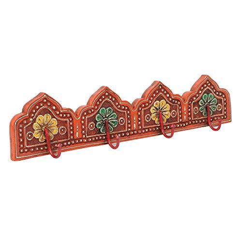 |Colgadores orientales Fars D pintados a mano con 4 ganchos 50,5 x 6 x 11 cm A x P x A de madera maciza | perchero de pared en hermosos diseños florales | MA16 44 D