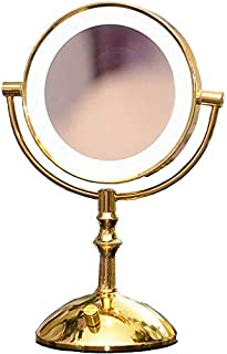 Daily Necessities Two-Color Dimming LED Cosmetic Mirror Gold 7-Inch Desktop Mirror Portable Princess Mirror with Light Mirror Makeup Mirror Beauty Vanity Mirror On Foot Stand