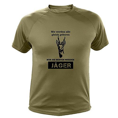 Jagd T Shirt Rehe, Wir Werden alle gleich geboren nur die besten Werden Jäger, Lustiges Geschenk für Jäger (20137, Grun, L)