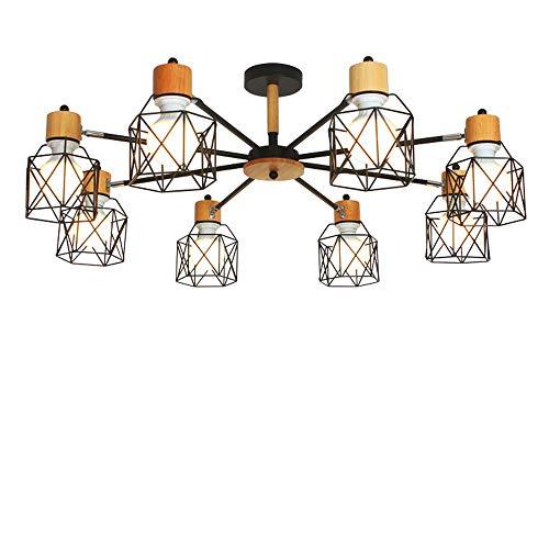 LWJDM Lámpara Colgante LED Regulable Moderna, E27 8-Luces Negro Lámpara de Araña Rústica con Amazon Alexa y Google Assistant Control de Fonética para Cocina Isla Bar Comedor