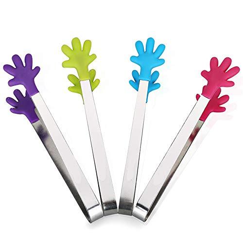 4 Stück Ice Clip Zuckerzange, Food Grade-Silikon-Anti-Rutsch-Palm Küchenzange für Bier, Tee, Kaffee-Party-gelegentlicher Farbe Tongs