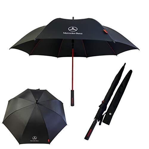 Mercedes Benz Ombrello Golf Pieghevole Antivento Automatico Nero Rosso Brolly Anti-UV (Piccolo 3 volte)