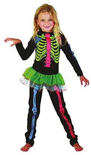 Bristol novità CC220scheletro costume da ragazza, multicolore, medium, approx età 5–7anni, scheletro ragazza. Multi Colour (M)