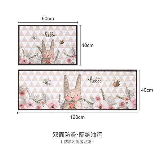 Mengjie Modern Küchenläufer 2ST Wildleder rosa Kaninchen 3MM Dicke Küchenmatten Schlafzimmer Teppich Anti-Müdigkeit Fußmatten,