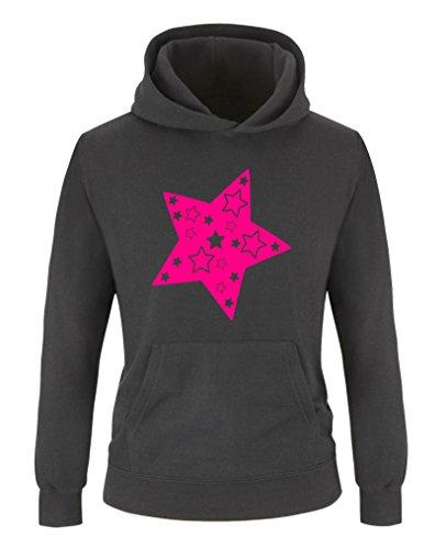Comedy Shirts - Stern - Mädchen Hoodie - Schwarz/Pink Gr. 152/164