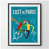 Lost In Paris Movie Carteles e impresiones vintage Arte de la pared Cuadro decorativo Pintura en lienzo para la decoración del hogar de la sala de estar -50x70 cm x1 Sin marco