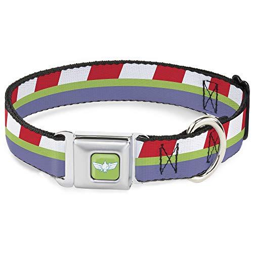 Collar para Perro, Hebilla para cinturón de Seguridad, Toy Story Buzz Lightyear Space Ranger, Rayas, Rojo, Verde, Morado, 38 a 66 cm de Ancho