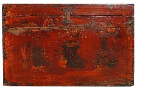 Fine Asianliving Chinesische Aufbewahrungskiste Orientalische Möbel Truhe Holztruhe Dekotisch Truhenbank Massiv Holz Groß Deckel Couchtisch Tischtruhe Sitztruhe Truhe Antik 88 x 55 x 47cm