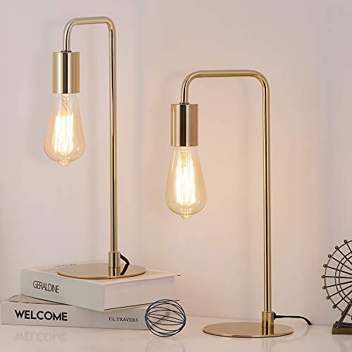 Edison Table Lamp Industrial Desk Lamps Set of 2 Small Gold Metal Lamp Suit for Bedside Nighstand product image