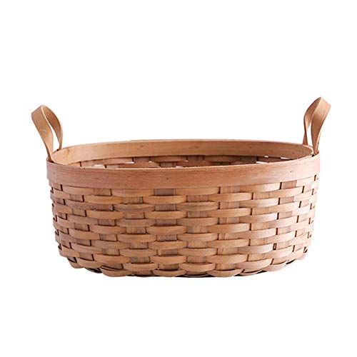 dream-cool Hand Woven Wooden Woven Bread Basket with Leather Handles Picnic Baskets Fruit Vegetable Storage Baskets with Wooden Base for Kitchen Table at Home, Wood, A