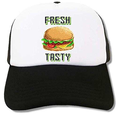Fresh and Tasty Burger Fast Food Pixel Art Trucker Cap Baseball Hat