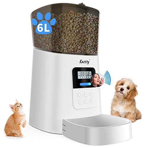 Kastty Automatic Cat Feeder, 6L Dog Food Dispenser for Small Pets, 50 Portions Control for Small & Medium Pets, Voice...