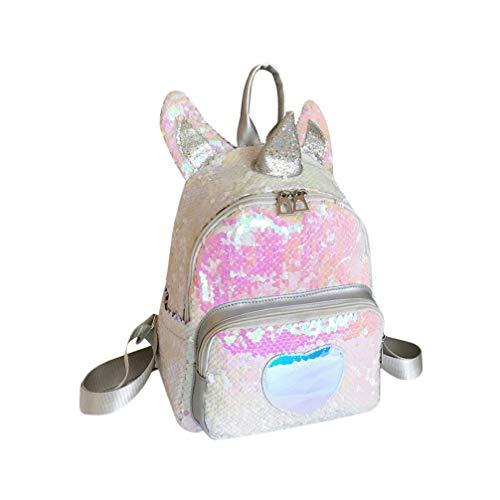 VALICLUD Mini Mochila de Lentejuelas Reversible Unicornio para Mujeres Niñas Bolso de Escuela de Brillo Brillante Mochila de Viaje Casual de Corazón Encantador