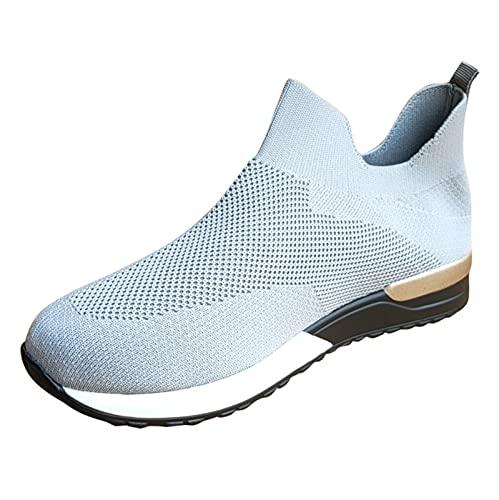 Corlidea Zapatillas de senderismo para hombre y mujer, zapatillas de deporte, zapatillas para correr, tenis, tiempo libre, calzado para correr por la calle, modernas, ligeras., color Gris, talla 38 EU