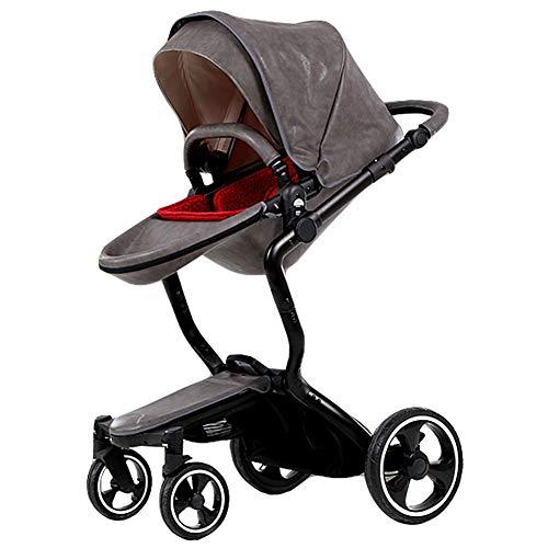 XIUSE&LEO Kinderwagen, Kinderwagen, wendbar, zusammenklappbar, kompakter Reisewagen, Leichter Buggy mit Verstellbarer Rückenlehne, geeignet ab Geburt bis 25 kg L grau