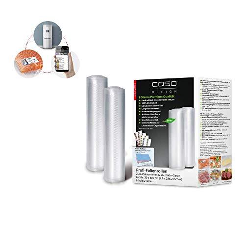 CASO Profi- Folienrollen 20x600 cm / 2 Rollen, für alle Balken Vakuumierer, BPA-frei, sehr stark & reißfest ca. 150µm, kochfest, Sous Vide geeignet, wiederverwendbar, für Folienschweißgeräte geeignet
