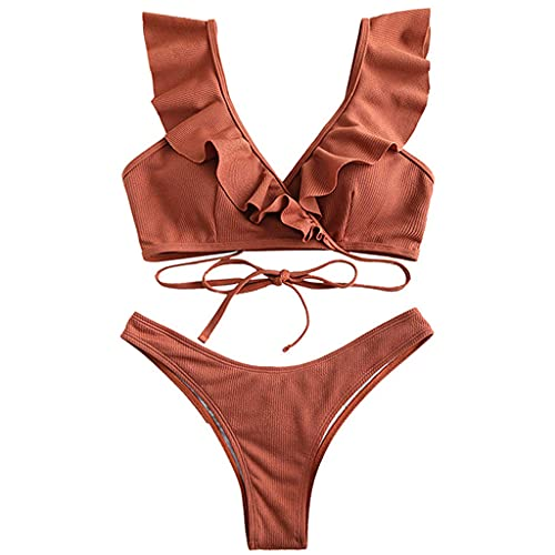 OSELLINE 2021 Nuevo Conjunto de Bikini, Conjunto de Bikini Sexy de 2 Piezas para Mujer, Volantes, Volante, Cuello en V, Traje de baño, con Cordones, Traje de baño Rojo