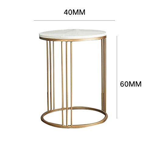 Small Side Tables for Small Spaces,Marble Sofa Side Table, Corner Round Table Coffee Table, Simple Bedside Table, Computer Table Plant, Suitable for Bedroom Living Room Hotel- 60 * 40