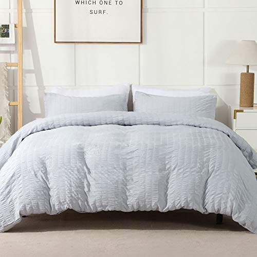 AveLom Light Gray Duvet Cover King(104 x 90 inches), 3 Pieces (1 Duvet Cover, 2 Pillow Cases), Seersucker Striped Soft Washed Microfiber Textured Duvet Cover Set with Zipper Closure, Corner Ties