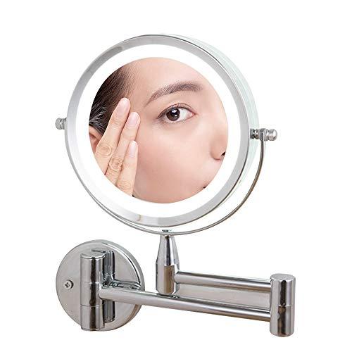 Miroir De Maquillage Led, Double Face LED Miroirs De Maquillage, Miroir Grossissant Mural, 360°Pivotant, Extensible, Alimenté Par 4 Piles AAA(Non Inclus)