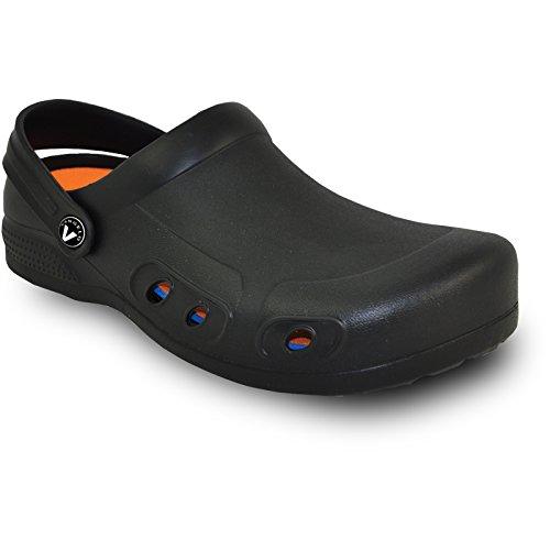 VANGELO Professional Slip Resistant Clog Men Work Shoe Chef Shoe Nurse Shoe Ritz Black Men Size 10 -Order One Size Up