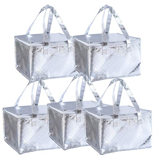 Hemoton 5 Stks Geïsoleerde Voedsel Draagtas Dikker Voedsel Warmer Zak Aluminiumfolie Voedsel Levering Zak Picknick Voedsel Zak Voor Camping Picknick Thuis Restaurant (Zilver)