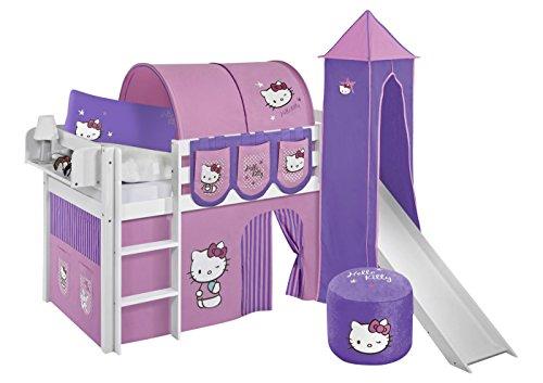 Lilokids Set Angebot - Spielbett JELLE 90 x 190 cm Hello Kitty Lila mit Rutsche - Hochbett Weiß - mit Vorhang, Turm, Tunnel und Taschen