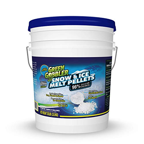 Green Gobbler 96% Pure Calcium Chloride Snow & Ice Melt Pellets | Concrete Safe Ice Melt (35 lb Pail)