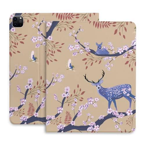 Funda para Tableta con Ciervos y Flores de Cerezo para iPad con portalápices Compatible con iPad 2020 Pro 11 12,9 Pulgadas