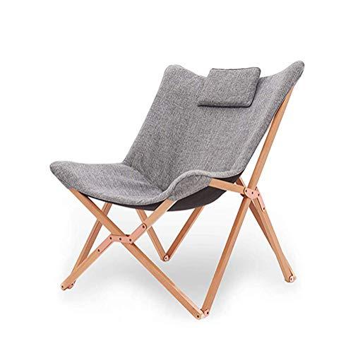 Yuzhijie silla plegable mariposa silla de madera maciza silla de salón cómoda y portátil de pesca al aire libre de excursión perezosa silla, Natural