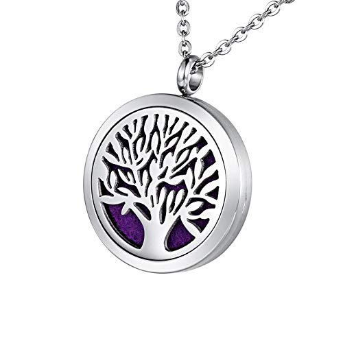 HOUSWEETY Aromatherapy Essential Oil Diffuser Necklace-Stainless Steel Tree of Life Locket Pendant,11 Refill Pads (Non-Engraving)