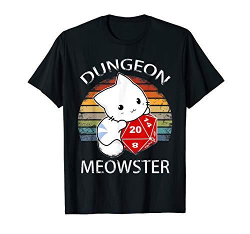 Dungeon Meowster D20 Würfel - Pen & Paper Rollenspiel RPG T-Shirt