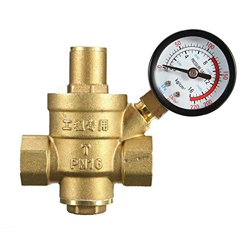 """HGFHGD DN15 1/2""""Messing Wasserdruckminderventil Regler einstellbares Überdruckventil mit Manometer 85 * 63mm"""
